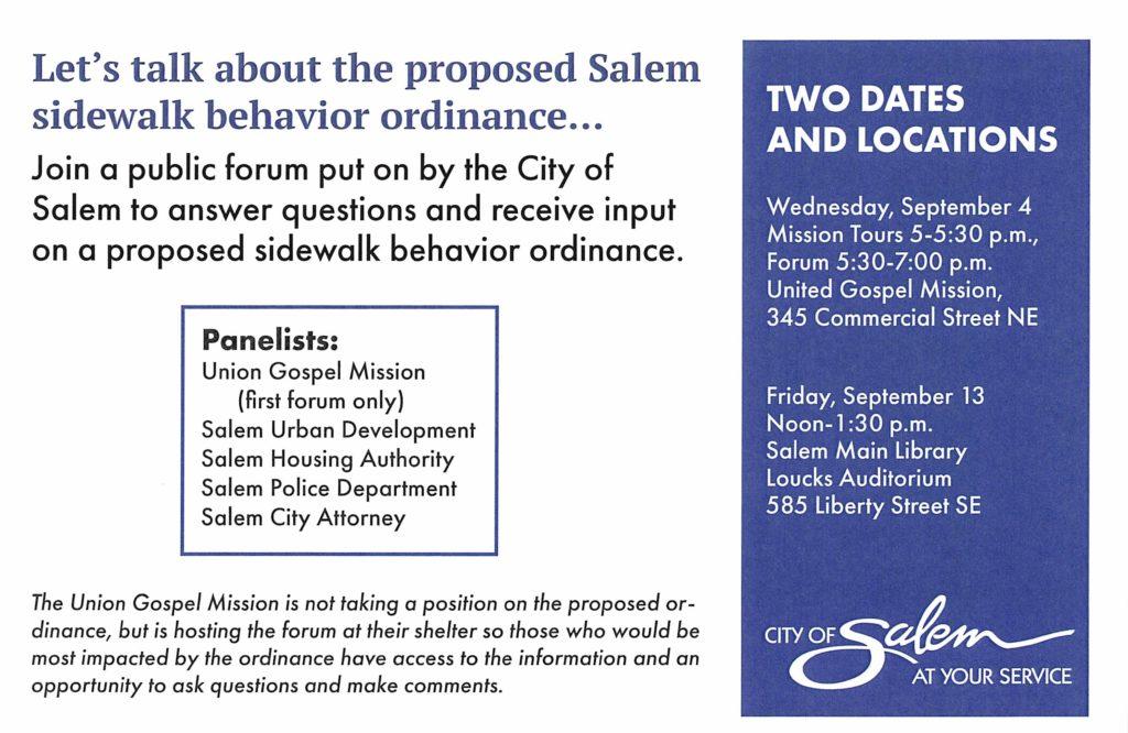 Sidewalk Behavior Ordinance Flyer Public Forum