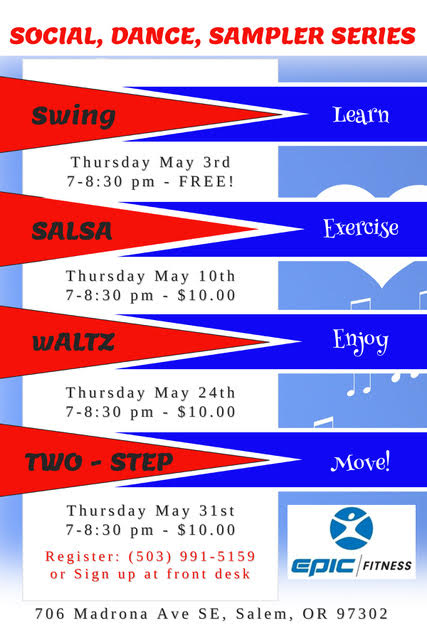 Try Social Dance Classes at Epic every Thursday during May